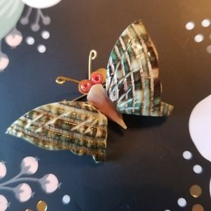Vintage | 1970's Shell Butterfly Brooch
